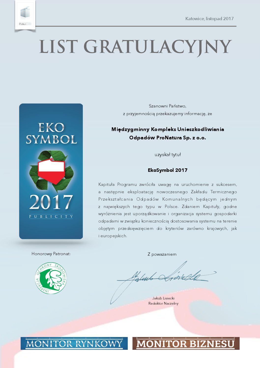 ProNatura wyróżniona EkoSymbolem 2017