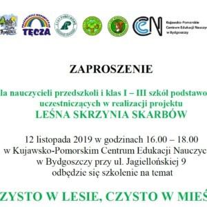 Zaproszenie na szkolenie dla nauczycieli koordynatorów projektu Leśna Skrzynia Skarbów